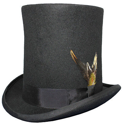 Black 100% Wool Felt Stove Pipe Lincoln High Top Hat Hand Made With Feather ()