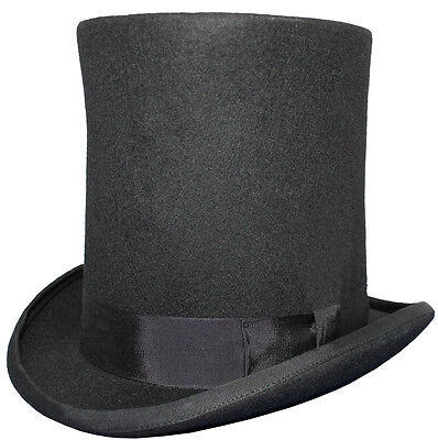 100% Wool High Top Lincoln Stove Pipe Hand Made Black Felt Top Hat 8