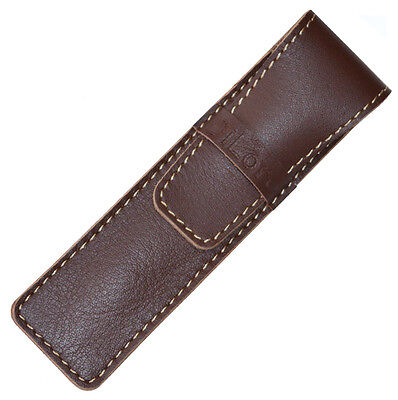 DiLoro Full Grain Top Quality Thick Buffalo Leather Single Pen Case Holder Brown