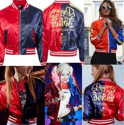 Ladies Kids Harley Quinn suicide squad Halloween cosplay party bomber jacket (Suicide Bomber Costume Halloween)
