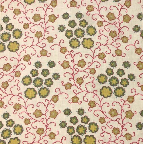 RAOUL TEXTILES Zelda Carmine Green Ivory Linen Hand Blocked Remnant New