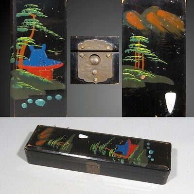 Antique French Japanese Lacquered Pen / Pencil Box / Case, Pagoda & Yew Trees - Japanese Pencil Tree