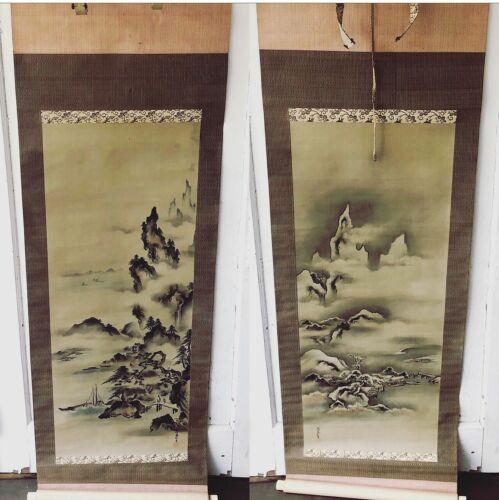 Pair Antique Japanese Hanging Scroll Paintings Kakejiku KANO YOSHIN Osanobu &Box