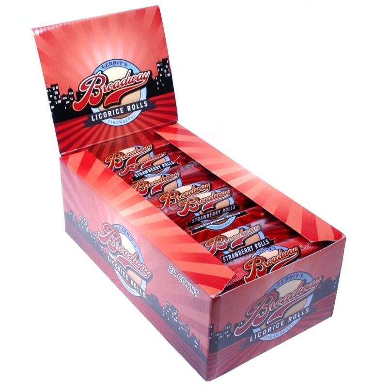Broadway Rolls Strawberry Candy 24 COUNT Case FREE SHIPPING