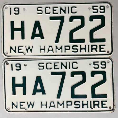 1959 NEW HAMPSHIRE License Plate  PAIR - NH #HA722