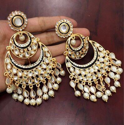 USA Indian Pakistani Bollywood Ethnic White Kundan Pearl Black Chandbali Jhumka