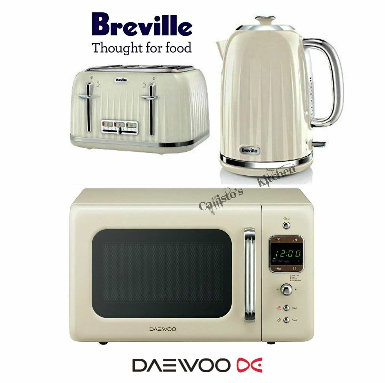 Breville impressions cream kettle and toaster set daewoo for Kitchen set kettle toaster microwave