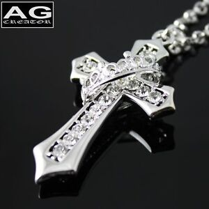 Clear-cubic-ring-cross-pendant-with-24-034-chain-necklace