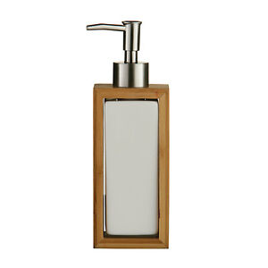 BAMBOO WOOD WHITE CERAMIC BATHROOM ACCESSORY SET OF 5 LOTION DISPENSER TUMBLER