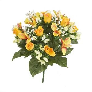 ROSEBUD & ALSTROMERIA BUNCH - CHOICE 4 COLOURS - ARTIFICIAL FLOWERS/GRAVE