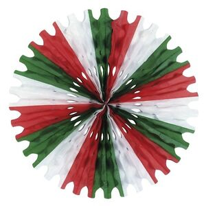25-RED-WHITE-AND-GREEN-HONEYCOMB-TISSUE-FAN-HANGING-DECOR-CHRISTMAS-COLOUR
