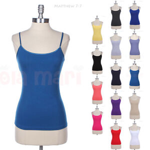 Built-In-Bra-Adjustable-Spaghetti-Strap-Regular-Length-Tank-Top-Camisole-S-M-L