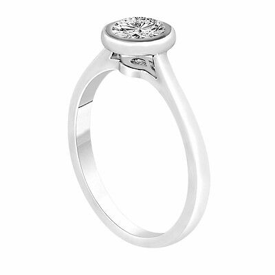 GIA Certified Solitaire Diamond Engagement Ring 0.50 Carat 14k White Gold Bezel