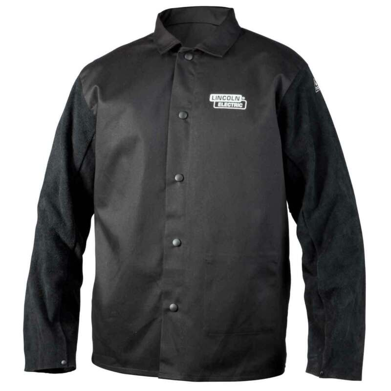 Lincoln Electric K3106 Traditional Split Leather Sleeved Welding Jacket, Medium