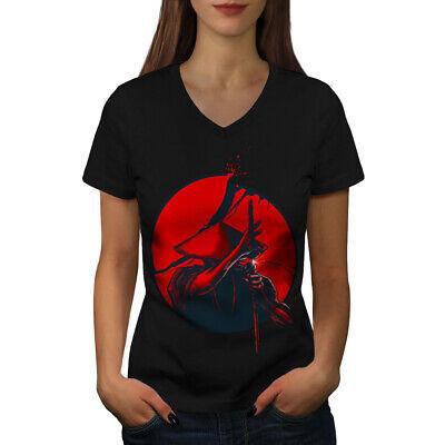 Japanese Warrior Designs (Wellcoda Japanese Warrior Womens V-Neck T-shirt, Katana Sun Graphic Design)