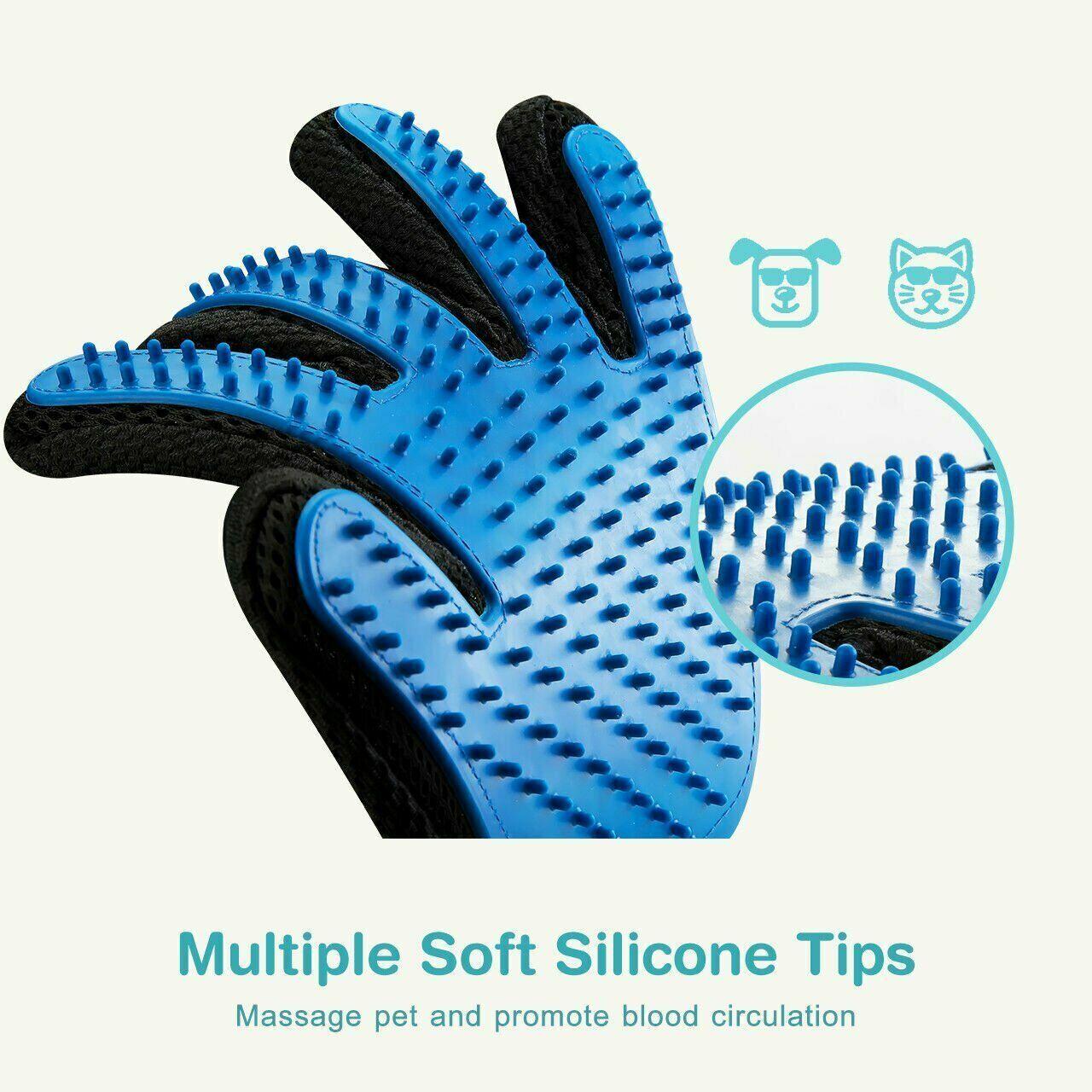 2x Pet Grooming Glove Brush Dog Cat Fur Hair Removal Mitt Massage Deshedding Brushes, Combs & Rakes