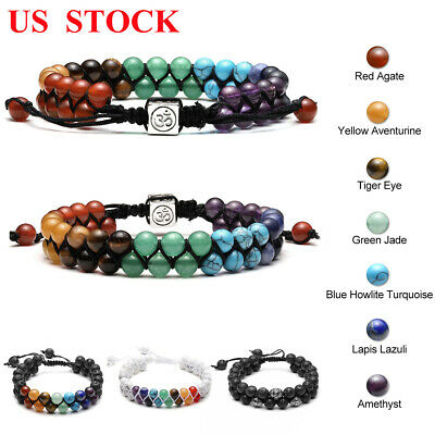 7 Chakra Healing Bracelet Handmade Volcanic Lava Stone Mala Meditation Beads US Chakra Healing Stone Bracelet