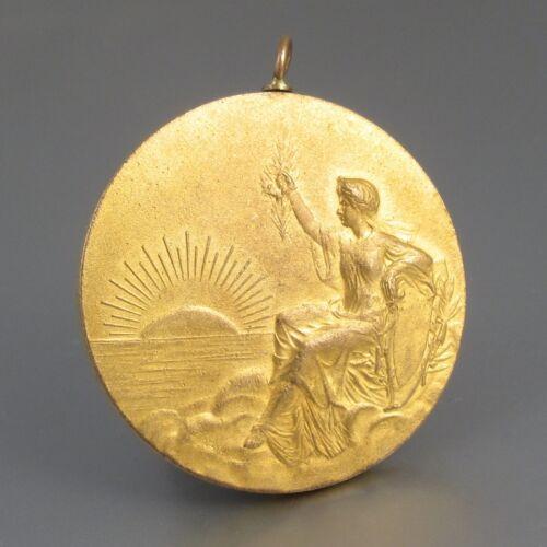 AntiqueFrench Gilded Bronze Medal Bas-Relief Goddess Aurora Angel Music, Signed