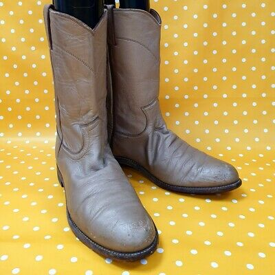 Vintage Justin Boots GOLD Cowboy Country Ranch Rodeo Biker Boots UK 6