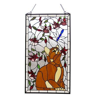 "Handcrafted Cat & Dragonfly Tiffany Style Stained Glass Window Panel  18"" x 31"""