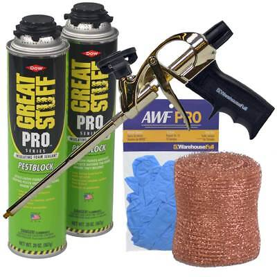 Dow Great Stuff Pro Pestblock Foam Sealant Kit With Pro Foam Gun And Gloves