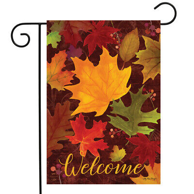 Falling Leaves Welcome Garden Flag Autumn Colored Leaes 12.5