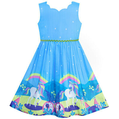US STOCK! Girls Dress Unicorn Rainbow Blue Cartoon Princess Size 4-12 - Blue Girls Dress