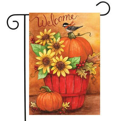 "Autumn Bushel Welcome Garden Flag Welcome Primitive Pumpkin 12.5"" x 18"""