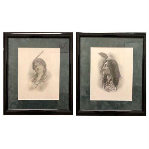 2 Native American Embossed Vintage Portraits