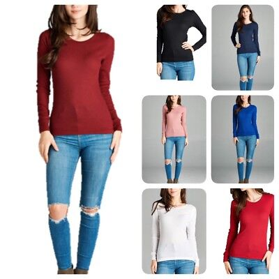 Sleeve Waffle Thermal -  New Women  Basic Thermal Long Sleeve  Solid Waffle Knit  T-Shirt Top (S-3LX)