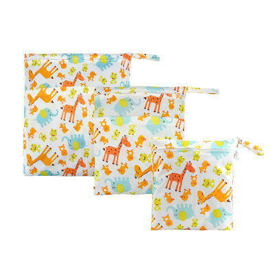 3 Packs Giraffe Wet Dry Bag Baby Cloth Diaper Nappy Bags Reusable With 2 Pockets