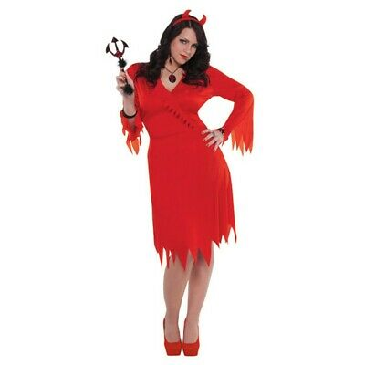 Devil Costumes For Womens (Womens Red Hot Devil 2-Piece Dress & Headband Costume - Size Adult Plus)