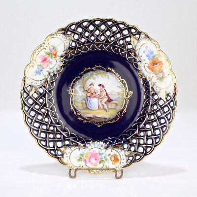 Antique Meissen Reticulated Cobalt Blue Ground Cabinet Plate with Couple - PC 1