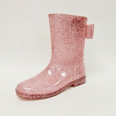 JB Girls' Size Waterproof Glitter Rain Boot with the bow on the