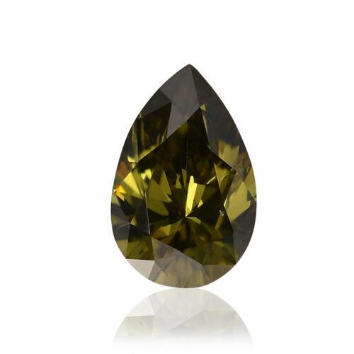 0.25 Carat Fancy Dark Gray Greenish Yellow Loose Diamond Natural Color Pear GIA