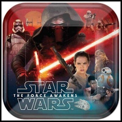 Star Wars The Force Awakens Birthday Party Plates 9in. Square Package of 8 - Star Wars Party Plates