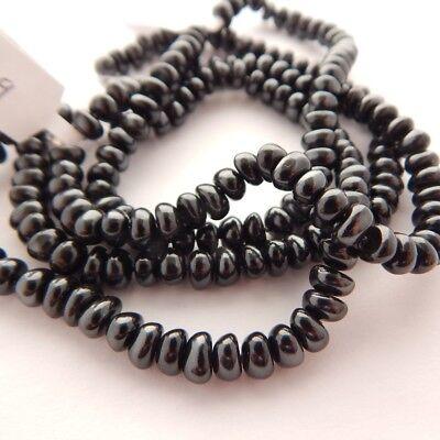 4x6mm Potato Shaped Glass Pearl Dk Gray Black (50 Beads) Czech Glass Beads