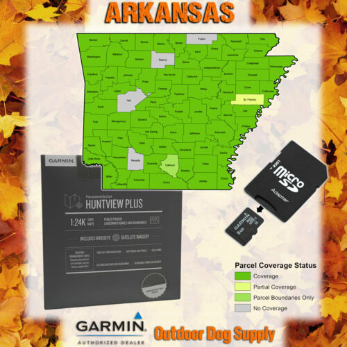 Garmin HuntView Plus Maps- ARKANSAS -Birdseye Satellite Imagery microSD Card