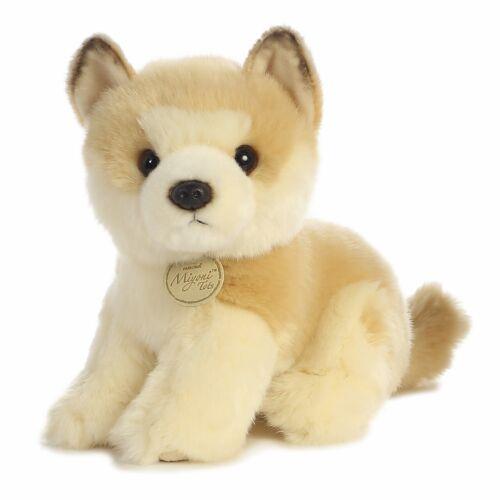 New AURORA MIYONI Soft Stuffed Plush Toy AKITA JAPANESE PUPPY DOG Animal Cream