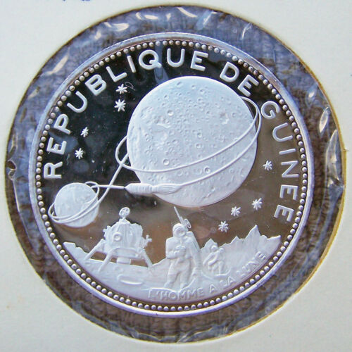 1970 Guinea 250 Francs Silver Proof - Lunar Landing - 10th Anniv of Independence