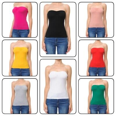 Womans  BASIC Stretch PLAIN  TUBE TOP Seamless Sleeveless Tee Sleeveless Womens Top