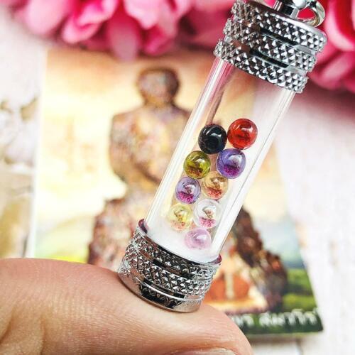Leklai Naga Eye Tube Crystal Amulet Thai Set9 Color Complitition Immortal #9485