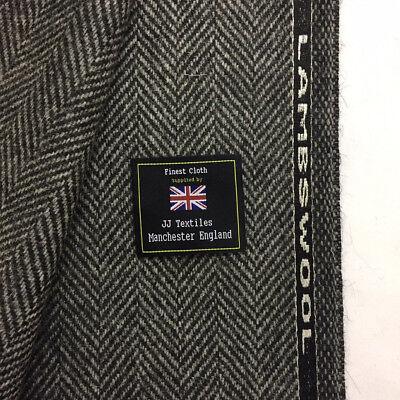 Luxury Herringbone Fabric - WILLIAM HALSTEAD Grey Herringbone 100% Lambswool  Luxury Coat Fabric. 480g