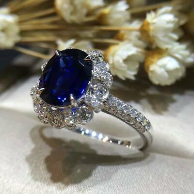 2.75Ct Oval Brilliant Cut Blue Sapphire Halo Engagement Ring 18K White Gold Fini ()