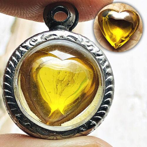 Heart Crystal Gem Healing Stone Naga Eye Leklai Thai Amulet Gambling Yellow 0160