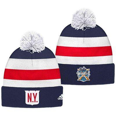 New York Rangers adidas 2018 NHL Winter Classic Goalie Pom Knit Hat
