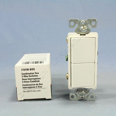 Cooper White Combination 3-Way Decorator DUAL Rocker Wall Light Switch 15A 7731W Decorator Rocker Switch 3 Way