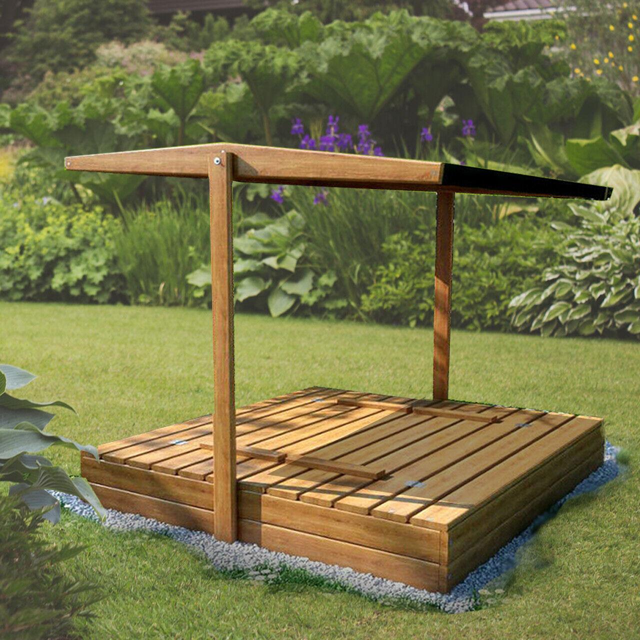 Sandkasten 120 cm mit Dach und Sitzbank, Sandkasten für den Garten, Imprägniert