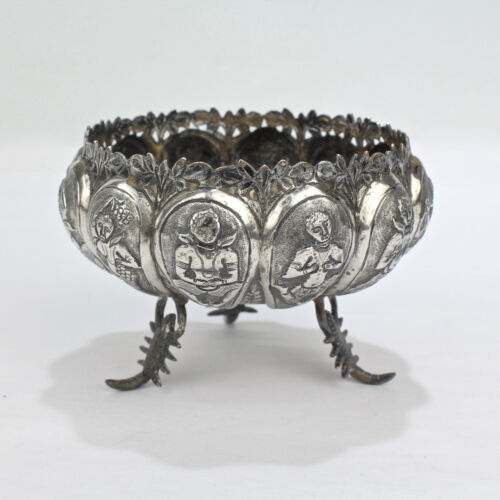 Old or Antique Unmarked Indian Silver Repousse Bowl with Scorpion Feet - SL