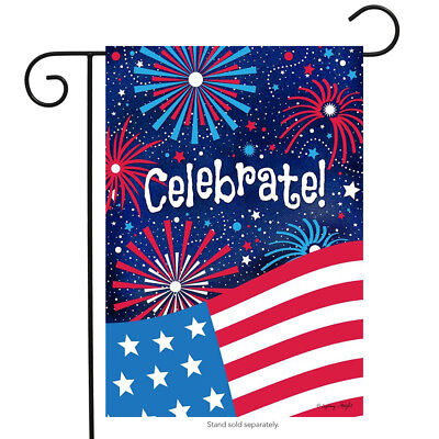 "Celebrate Patriotic Garden Flag 4th of July Fireworks USA 12.5"" x 18"""